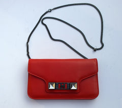 Proenza Schouler PS11 Paprika Orange Leather Chain Clutch Bag