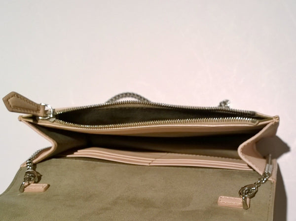 Fendi Tube Shell Pink Elaphe Bag Chain Clutch