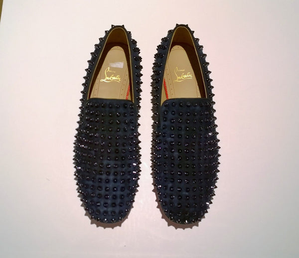 Christian Louboutin Rollerboy Spikes Dark Blue Suede Loafers navy shoes