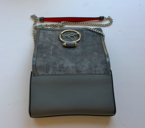 Christian Louboutin Rubylou Shadow Gray Suede Chain Bag small purse