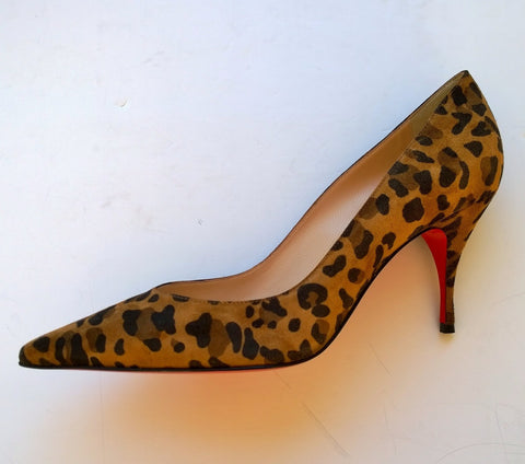 Christian Louboutin Clare 80 Leopard Suede Heels