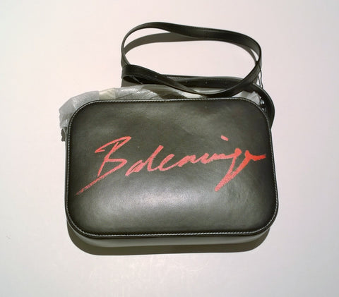Balenciaga Logo Camera Small Black Leather Crossbody Bag with Red Letters