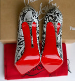 Christian Louboutin So Kate 120 Graffiti Black and White Leather Heels