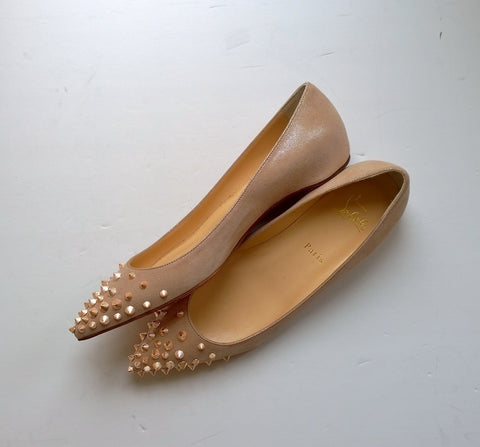 Christian Louboutin Spikyshell Spikes Flats in Shell Pink Suede