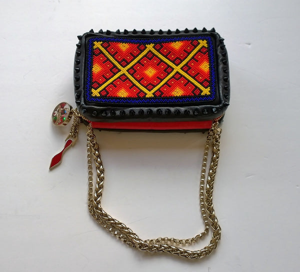 Christian Louboutin Piloutin Tipiho Beaded Bag Red Beads and Blue