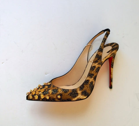 Christian Louboutin Drama Sling 100 Lurex Panthere Gold Studs Leopard Heels