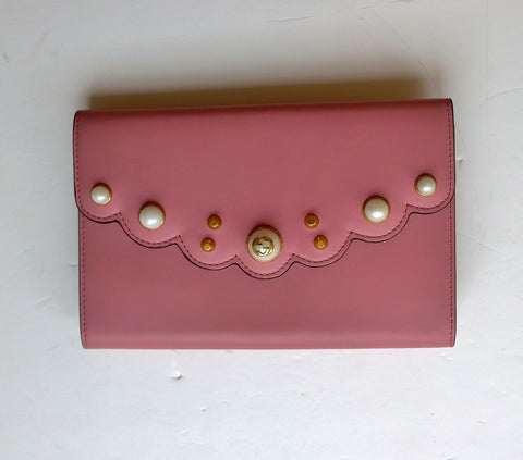 Gucci Peony Pink Leather and Pearl Clutch