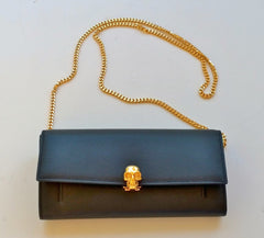 Alexander McQueen Skull Clutch Chain Bag in Black Leather