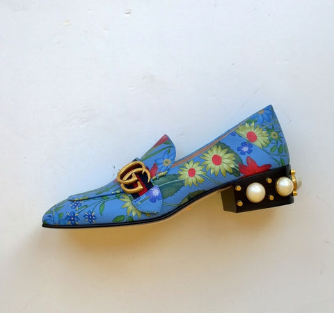Gucci Blue Leather Flowers Loafers with GG studded Pearls