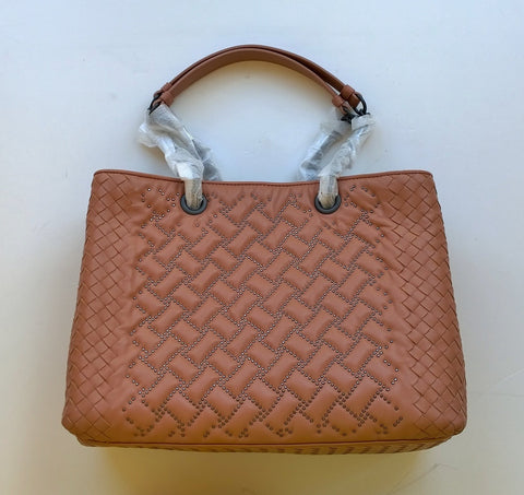 Bottega Veneta Studs Woven Chain Handle Handbag Tote Bag Terra Cotta