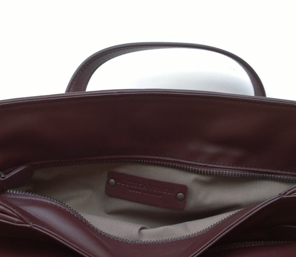 Bottega Veneta Woven Leather Tote Bag in Oxblood Leather Burgundy