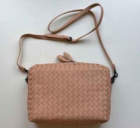 Bottega Veneta Light Pink Beige Leather Woven Purse with Crossbody Strap Bag