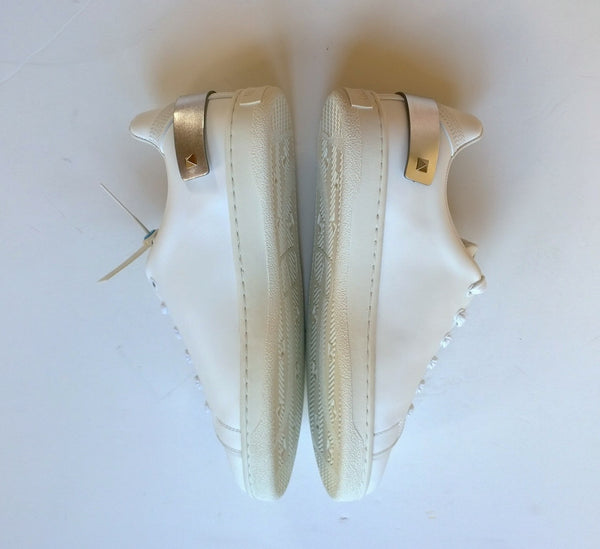 Valentino Garavani Backnet White Leather Trainers with Silver Tab Rockstud sneakers
