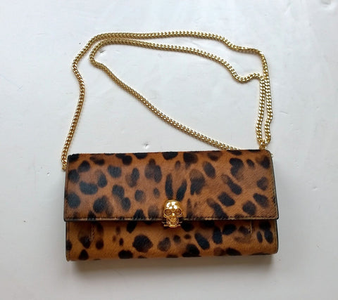 Alexander McQueen Skull Chain Clutch Bag in Calf Leopard