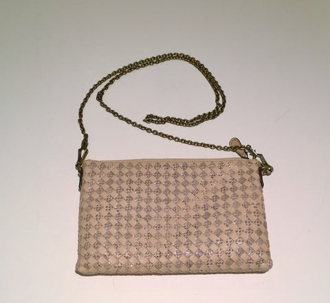 Bottega Veneta Blush Pink Leather and Elaphe Print Chain Clutch Bag