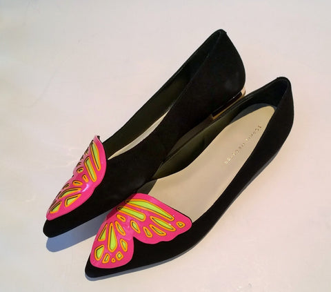 Sophia Webster Bibi Butterfly Flats in Black Suede and Neon Pink and Yellow