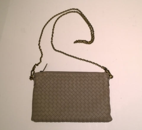 Bottega Veneta Oyster Leather Intrecciato Woven Chain Clutch Bag