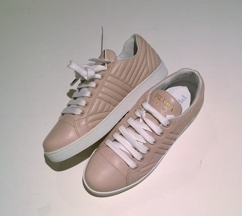 Prada Quilted Leather Sneakers in Cipria Pale Pink