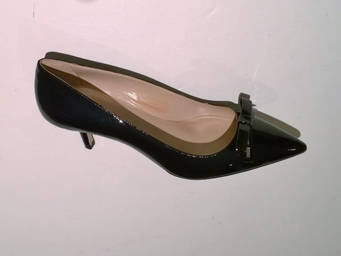 Miu Miu Black Patent Leather Logo Bow Heels 50