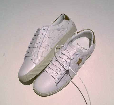 Saint Laurent Court Classic Metallic Star White Leather Sneakers with Copper YSL