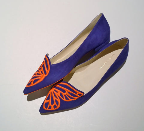 Sophia Webster Bibi Butterfly Blue Suede Flats Orange Shoes
