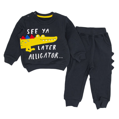 Alligator Appliqué Sweatshirt And Pull-on Jogger Set from Merry BooBoo