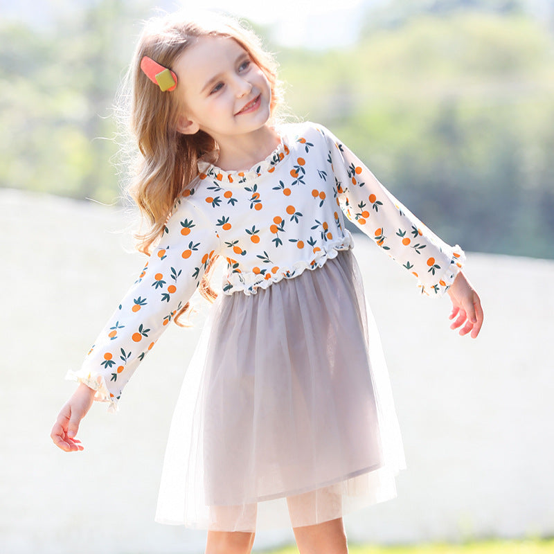 Girl Long Sleeve Orange Print Tulle Dress