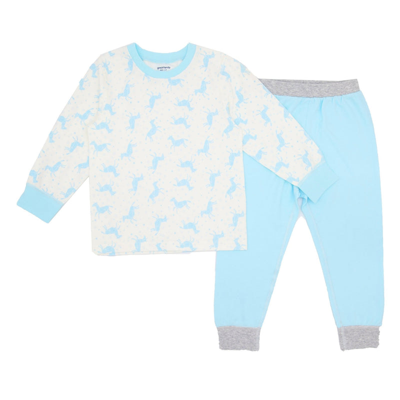 2-Piece Long Sleeve Pajamas In Combed Cotton - Blue Horses - Merry BooBoo