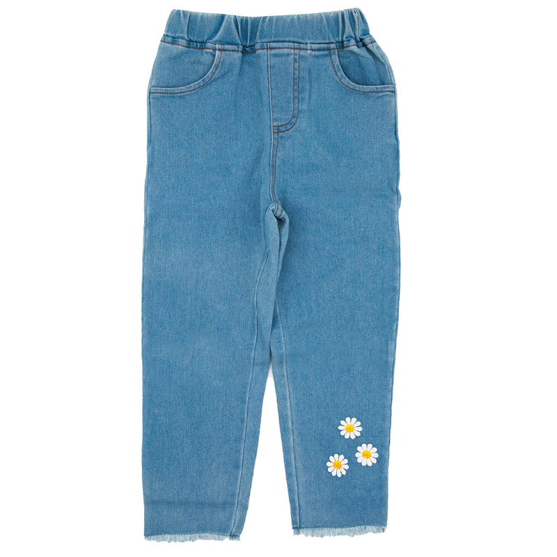 Girl Daisy Floral Applique Jeans