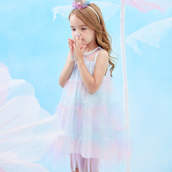 Merry BooBoo Girls' Summer Cotton Rainbow Tulle Dress front
