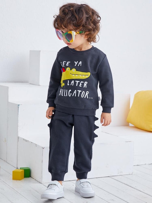 Alligator Appliqué Sweatshirt And Pull-on Jogger Set - Merry BooBoo