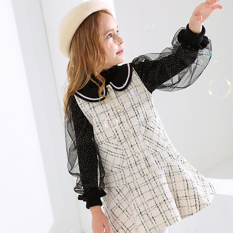 Boucle Collar Tweed Dress - Black and White - Merry BooBoo