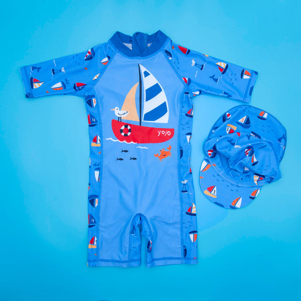 Merry BooBoo boys' summer one-piece swimwear UV protection