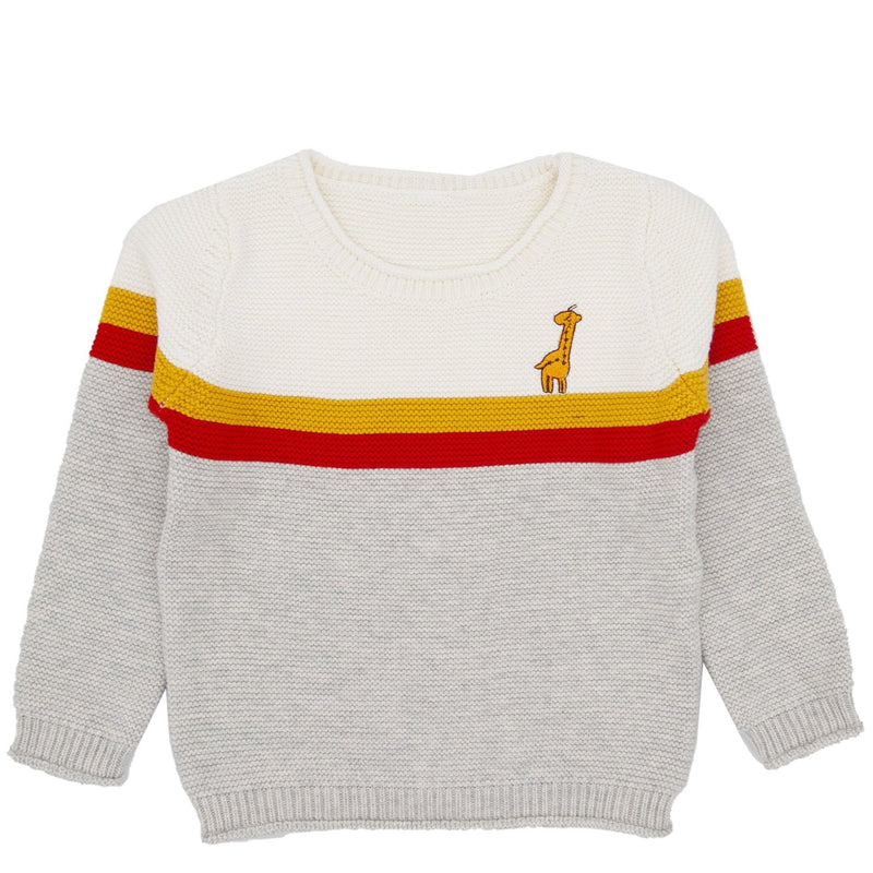 Boy's Crewneck Giraffe Knit Sweater - Gray - Merry BooBoo