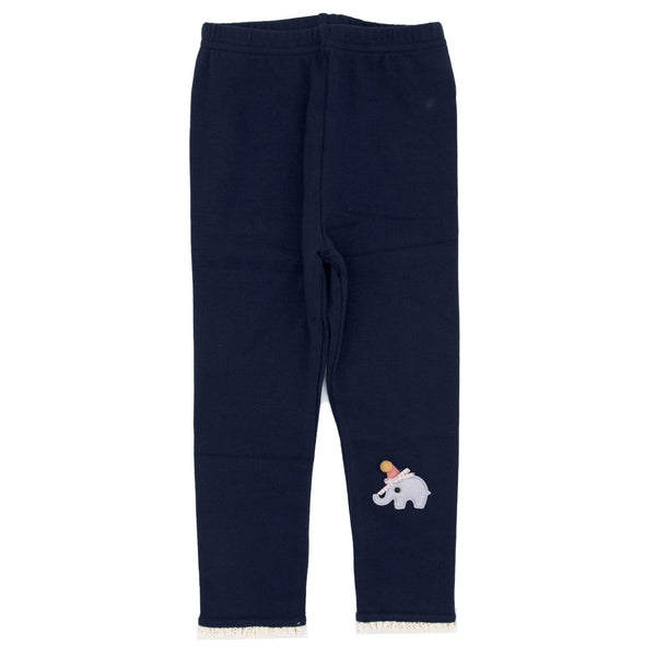 Elephant Applique Winter Leggings - Ink Blue - Merry BooBoo