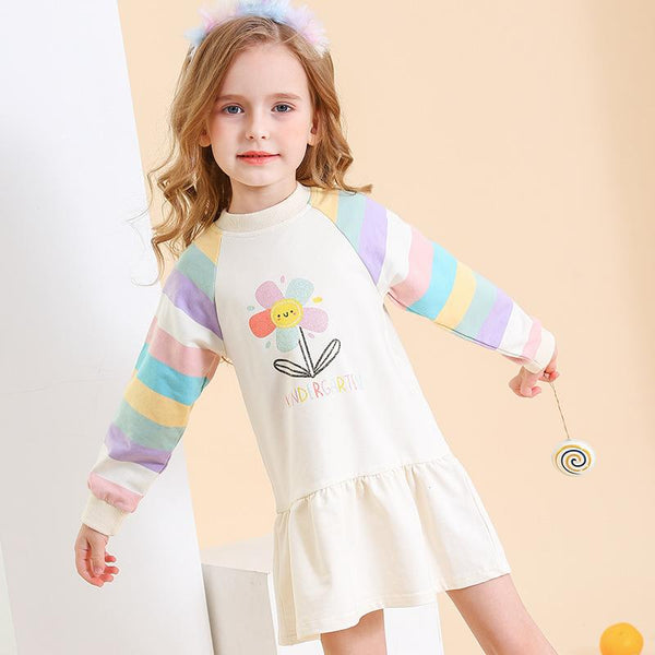 Flower Print Striped Dress / Sweatshirt - Merry BooBoo