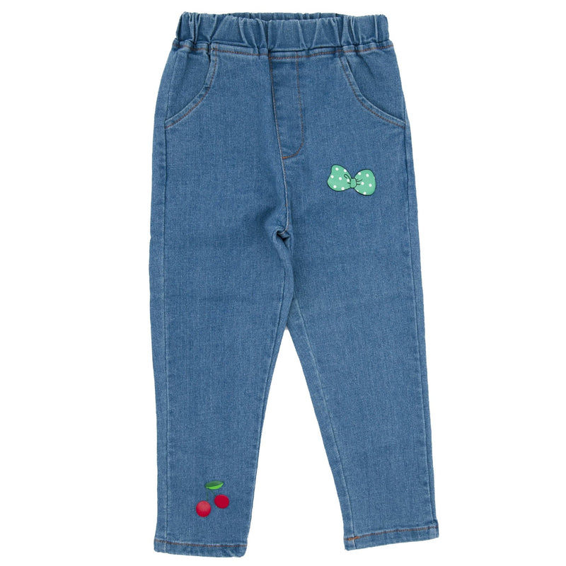 Girl Cherry and Bow printed Denim Pants - Merry BooBoo