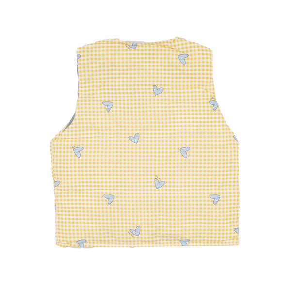 Heart Print Shell Down Vest - Merry BooBoo