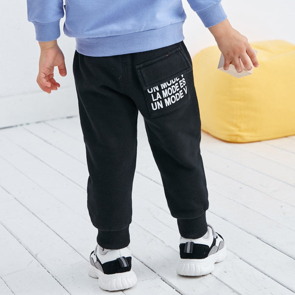 Letter Print Pull-on Jogger-Black - Merry BooBoo