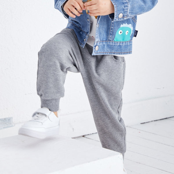 Letter Print Pull-on Jogger-Grey - Merry BooBoo