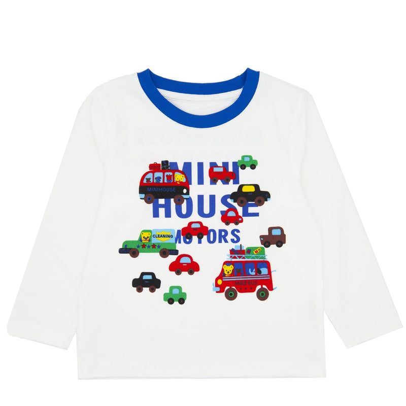 Lovely Mini Cars Long-sleeve T-shirt - White - Merry BooBoo