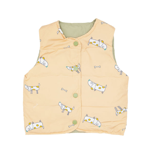 Puppy Print Shell Down Vest - Merry BooBoo