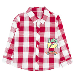 Red Plaid Cotton Long-Sleeve Button-down Shirt - Merry BooBoo