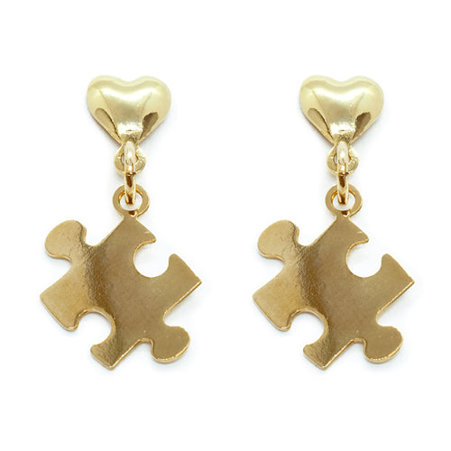 Autism Heart Puzzle stud earrings