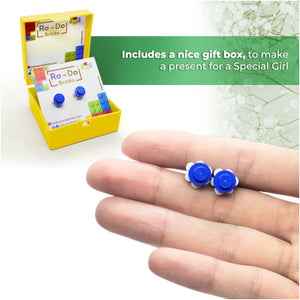 Plastic Flower Earring Studs White Blue
