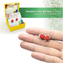 Load image into Gallery viewer, Plastic Flower Earring Studs White Red