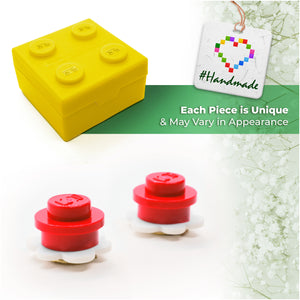 Plastic Flower Earring Studs White Red