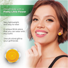 Load image into Gallery viewer, Plastic Flower Earring Studs White Yellow