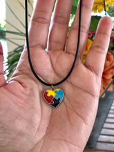 Load image into Gallery viewer, Autism Heart Pendant with leather necklace