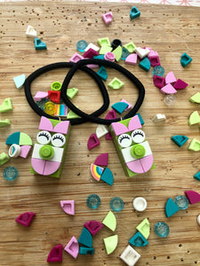 Hair Elastics Cute Faces Pinky